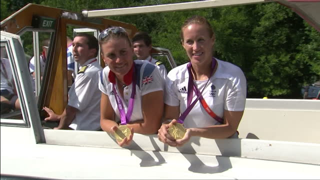 exterior interview with team gb gold medal winning rowing pair helen glover heather stanning interview with team gb's gold medal winning rower on... - helen glover rower stock videos and b-roll footage