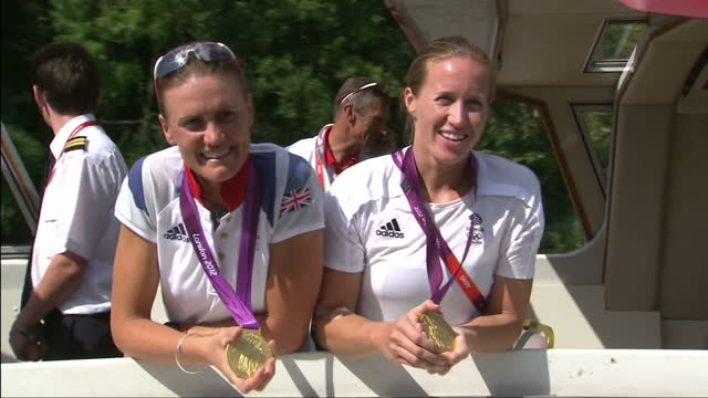 exterior interview with team gb gold medal winning rowing pair helen glover heather stanning interview with team gb's gold medal winning rowers on... - helen glover rower stock videos and b-roll footage