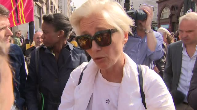 exterior interview with the actress emma thompson on the extinction rebellion protests in oxford circus on 19 april 2019 in london united kingdom - emma thompson stock videos & royalty-free footage