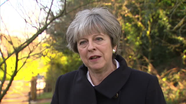 Exterior interview with Theresa May on Brexit talks entering the next phase on 15 December 2017 in Maidenhead United Kingdom