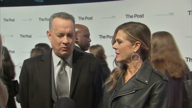 Exterior interview with Tom Hanks and his wife Rita Wilson on the red carpet at the London premiere of The Post speaking about the feminist theme...