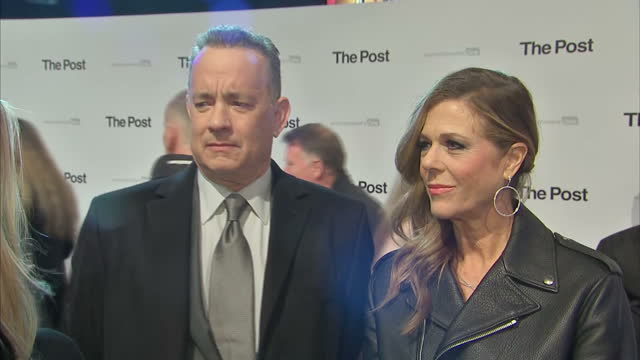 exterior interview with tom hanks on the red carpet at the london premiere of the post speaking about how the themes and subject matter of the film... - artificial stock videos & royalty-free footage