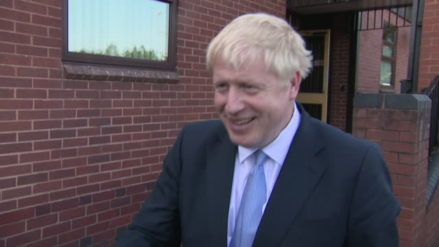 exterior interview with tory leadership candidate boris johnson on brexit on 28 june 2019 in wolverhampton united kingdom - midlands occidentali video stock e b–roll