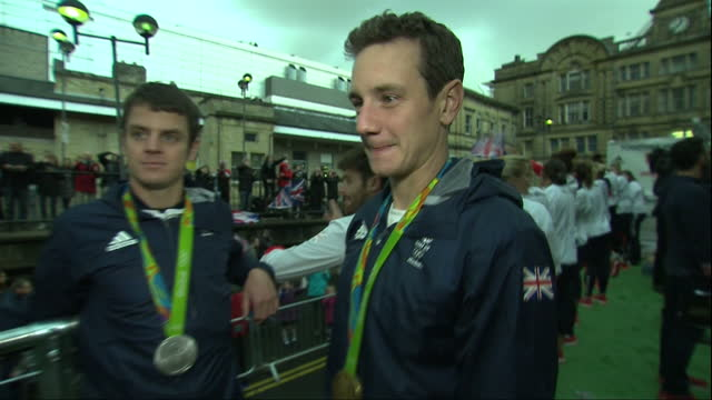 Exterior interview with triathletes Jonathan and Alistair Brownlee who won silver and gold respectively at the Rio Olympics speaking about the...