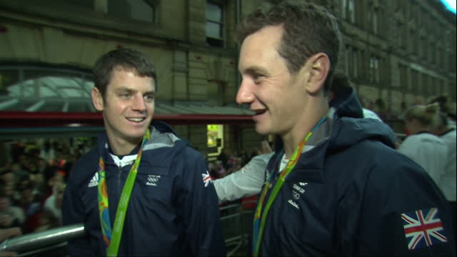 Exterior interview with triathletes Jonathan and Alistair Brownlee who won silver and gold respectively at the Rio Olympics speaking about training...