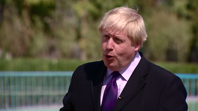Exterior interview with UK foreign Secretary Boris Johnson MP about his stance on immigration saying he is 'Proimmigration but also procontrol at...