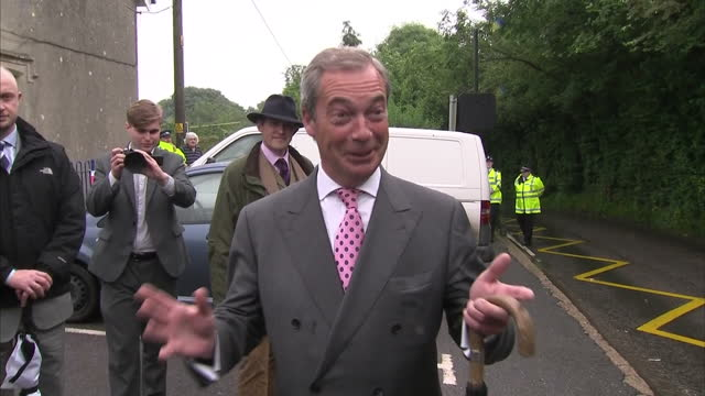 exterior interview with ukip leader nigel farage outside polling station on june 23, 2016 in biggin hill, england. - biggin hill stock videos & royalty-free footage