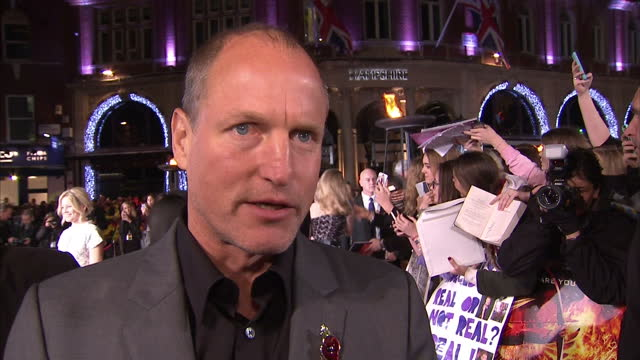 exterior interview woody harrelson, actor talks on the hunger games: mockingjay, part 2 red carpet about the hunger games story. on november 05, 2015... - woody harrelson stock videos & royalty-free footage
