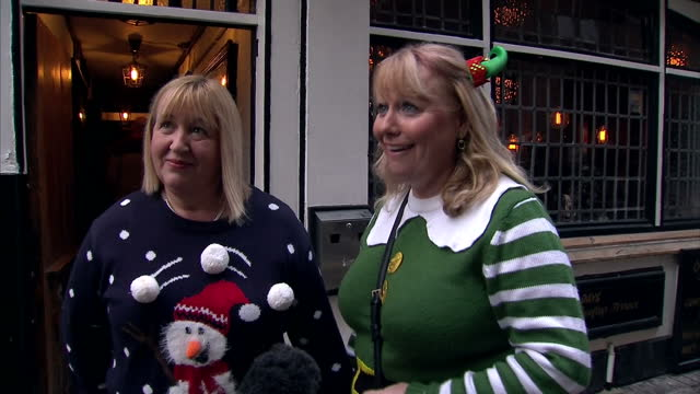 Exterior interviews with members of the public about Christmas jumpers and the fact that some pubs have banned them Pubs and bars have been accused...
