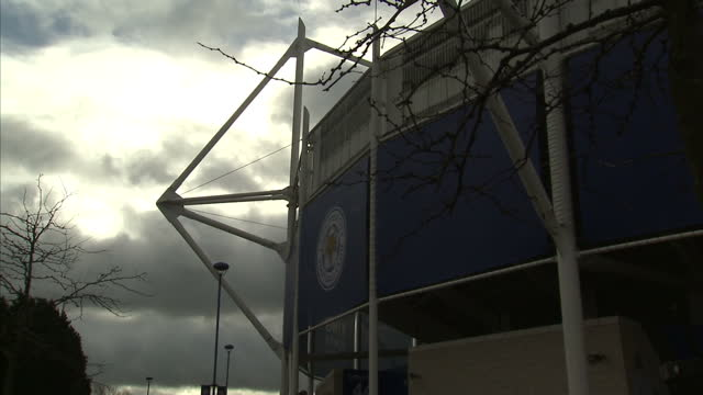Exterior lockedoff shot King Power Stadium home of Leicester City football club with clouds moving in background on May 02 2016 in Leicester England