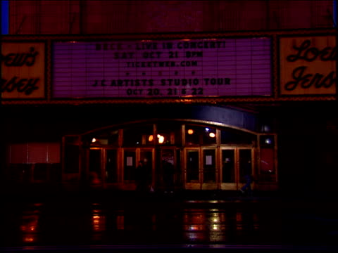 exterior loews jersey city theater at night - amc theaters stock videos and b-roll footage