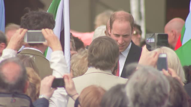 vídeos de stock e filmes b-roll de exterior long shots of prince william walking along path stopping and talking to school children with flags and shots of crowd taking photos of duke... - magna carta documento histórico