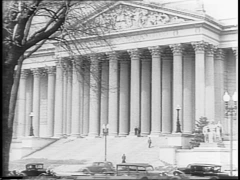 Exterior montage of Washington's Archives Building / Crowd clapping montage of the Japanese surrender documents / map of China arrow points to...
