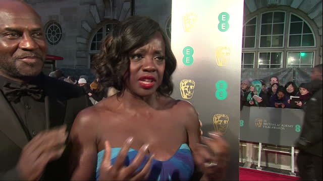 Exterior night interview with Viola Davis actress in Fences film on red carpet talks about August Wilson Fences film the play being cold at the BAFTA...