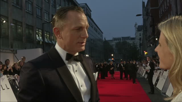 exterior night shot daniel craig speaks on his role as 007 in skyfall daniel craig speaks on his james bond role on october 23 2012 in london england - skyfall 2012 film stock videos and b-roll footage