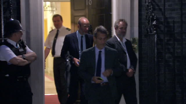 exterior night shot, director sam mendes departs 10 downing street with two other guests after a reception for the uk creative industries on june 30,... - sam mendes stock videos & royalty-free footage