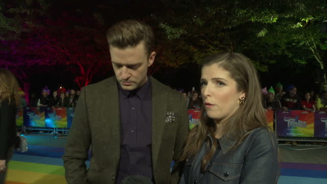 Exterior night shots actress Anna Kendrick and singer Justin Timberlake attending the premiere of the film 'Trolls' in central London on September 29...