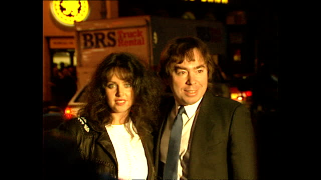 exterior night shots andrew lloyd webber sarah brightman posing for press on january 23 1989 in london england - andrew lloyd webber stock videos & royalty-free footage