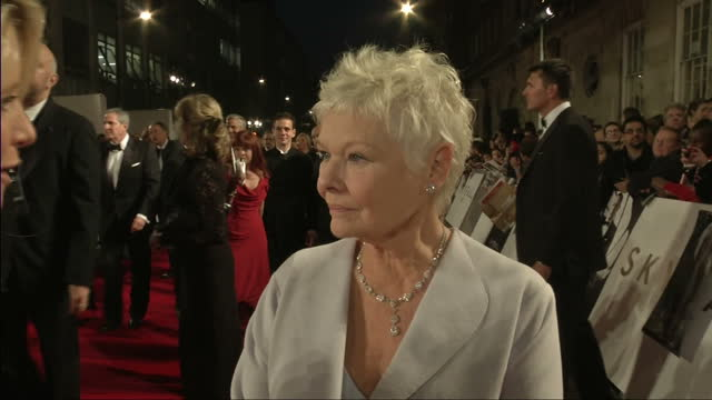 exterior night shots dame judy dench speaks on the relationship between m james bond james bond skyfall world premiere on october 23 2012 in london... - skyfall 2012 film stock videos and b-roll footage
