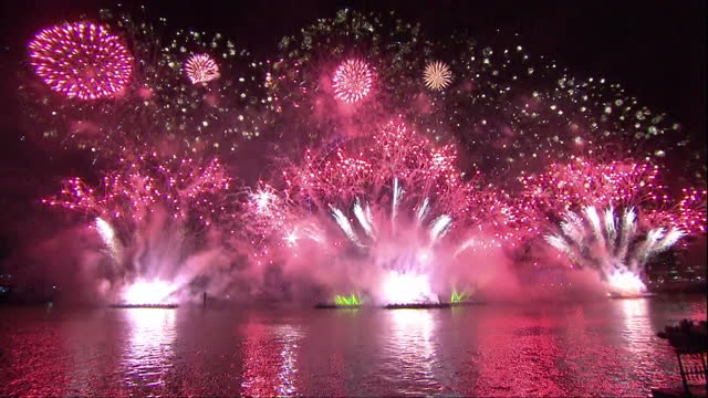 exterior night shots fireworks firework display on river thames the london eyenew year's eve celebrations 2013 new years celebrations 2013 on... - river thames stock videos & royalty-free footage