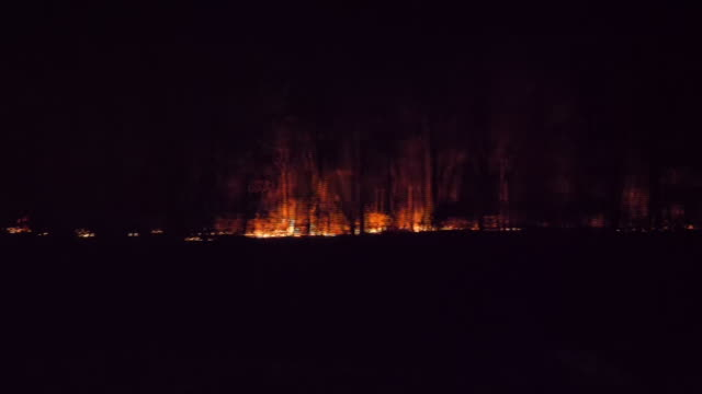 exterior night shots from inside a police car driving through area with wild fires still burning along the side of a road on 16 november 2019 in... - australia stock videos & royalty-free footage
