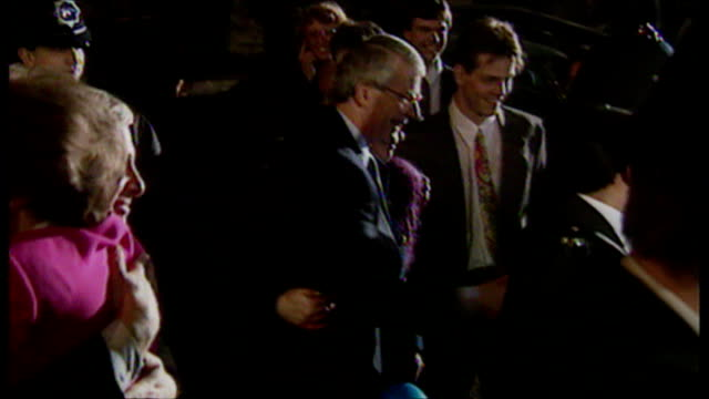 exterior night shots john major, prime minister arriving at the conservative party headquarters in smith square after winning the 1992 general... - conservative party uk stock videos & royalty-free footage