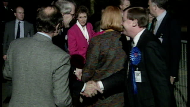 Exterior night shots John Major Prime Minister arriving with wife Norma Major at the Huntingdon declaration and poses for the press on April 10 1992