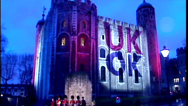 exterior night shots launch of uk ok ukok campaign uk ok displayed projected onto tower of london on january 23 2002 in london england - golden jubilee stock videos & royalty-free footage
