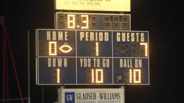 exterior night shots light-up scoreboard displaying scores during competitive game of high school american football. on october 14, 2016 in mesa,... - scoring stock videos & royalty-free footage