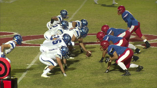 exterior night shots mountain view high school and dobson high school playing competitive game of high school american football. on october 14, 2016... - television game show stock videos & royalty-free footage