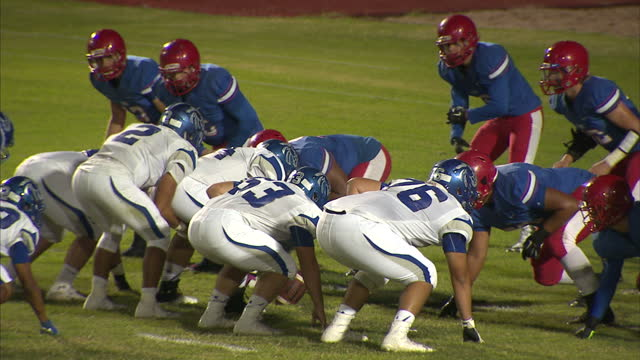 Exterior night shots Mountain View High School and Dobson High School playing competitive game of high school American football on October 14 2016 in...