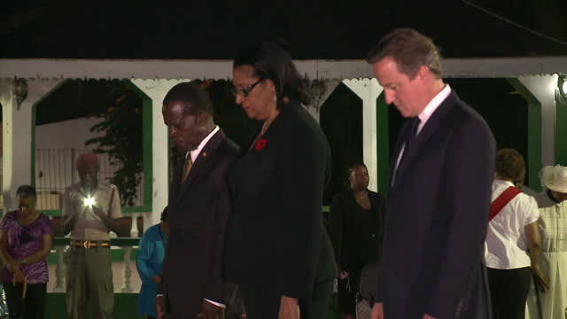 exterior night shots of british prime minister david cameron arriving at the cenotaph with governor general cecile la grenade and grenadian prime... - st. george's grenada stock videos and b-roll footage