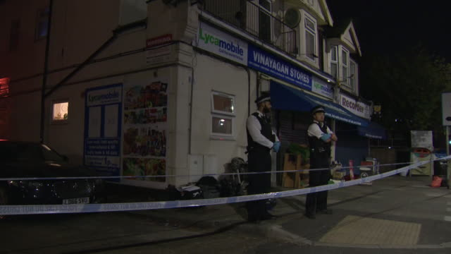 exterior night shots of crime scene where ilford children stabbing took place at a property on aldborough road north in ilford on 27 april 2020 in... - ilford stock videos & royalty-free footage
