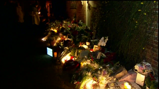 Exterior night shots of floral tributes outside of George Michael's house on December 27 2016 in GoringonThames England