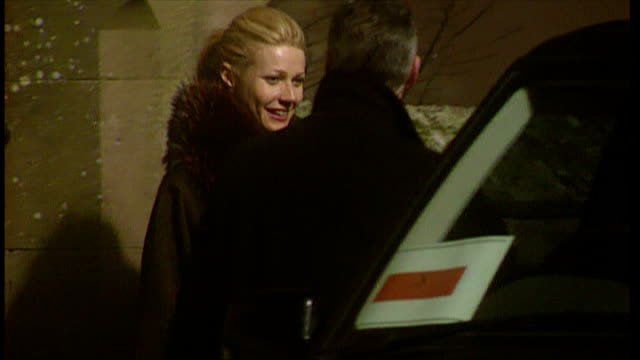 exterior night shots of gwyneth paltrow leaving dornoch cathedral after madonna and guy ritchie's son rocco's christening on december 27 2000 in... - gwyneth paltrow stock videos and b-roll footage
