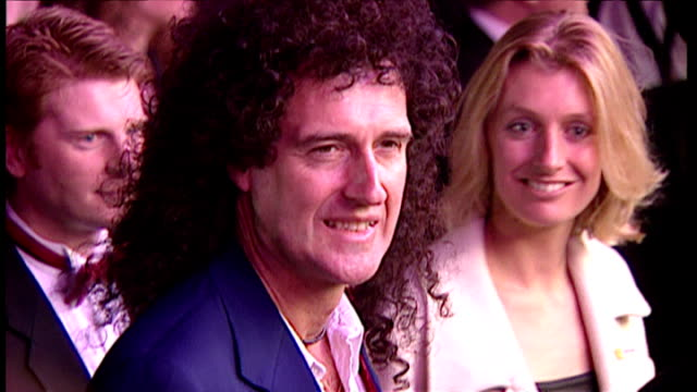exterior night shots of musician brian may arriving at the star wars special edition premiere on march 20 1997 in london england - star wars stock videos & royalty-free footage