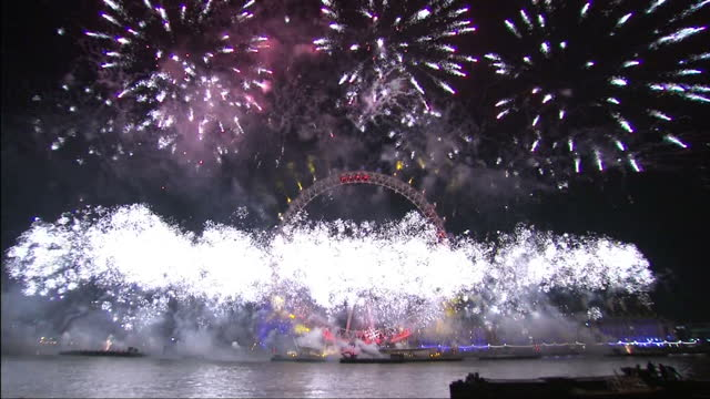 CLEAN Exterior night shots of New Year countdown and fireworks display over London Eye Music in this clip might be subject to further clearances on...