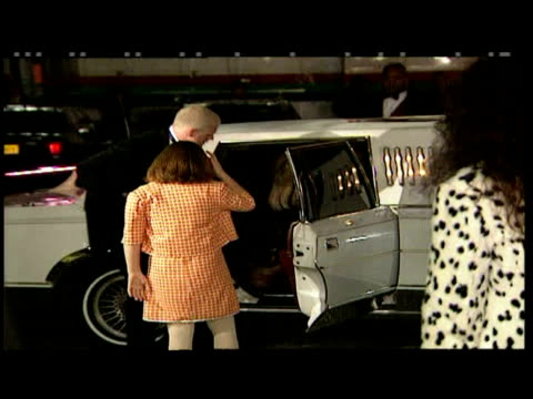 exterior night shots of paul gascoigne sheryl kyle and their children bianca and mason out of limousine and pose for photo ops at premiere of 101... - limousine stock-videos und b-roll-filmmaterial