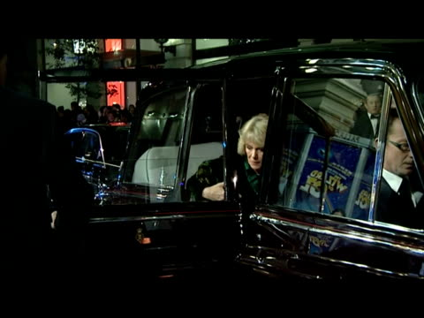 stockvideo's en b-roll-footage met exterior night shots of prince charles camilla arriving at london palladium for the royal variety performance after their car was attacked by tuition... - london palladium