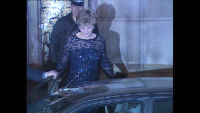 exterior night shots of princess diana departing brazilian embassy, gets into blue grey ford mondeo car with detective peter brown , diana drives sat... - paparazzi photographer stock videos & royalty-free footage