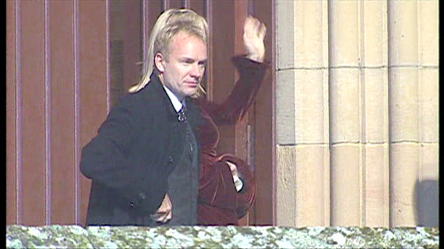 exterior night shots of sting, gordon matthew sumner cbe, and wife trudie styler arriving at dornoch cathedral for madonna and guy ritchie's son... - trudie styler stock videos & royalty-free footage