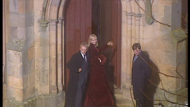 Exterior night shots of Sting Gordon Matthew Sumner CBE and wife Trudie Styler arriving at Dornoch Cathedral for Madonna and Guy Ritchie's son...