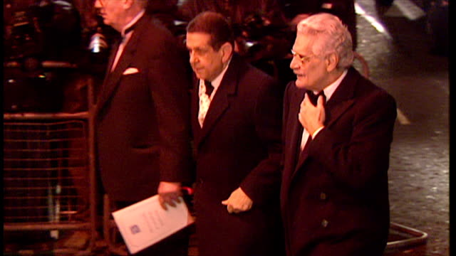 Exterior night shots Omar Sharif arrives at charity dinner event at Harrods London in aid of Harefield Hospital Heart Research Unit on March 07 1996...