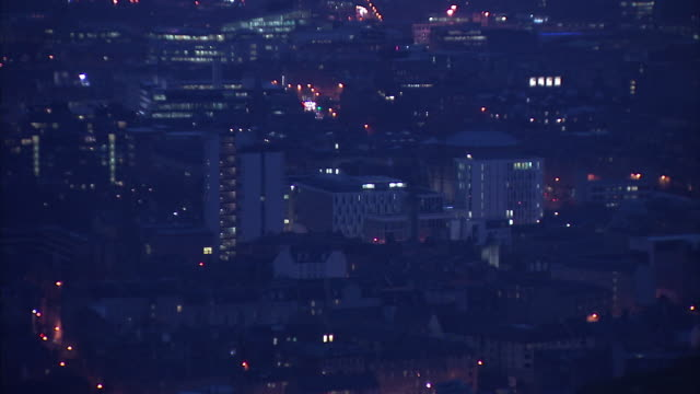 exterior night shots over edinburgh city centre from arthur's seat on 29 october 2019 in edinburgh, united kingdom - edinburgh scotland stock videos & royalty-free footage