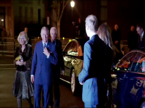 Exterior night shots Prince William Catherine Duchess of Cambridge arrive with Prince Charles Camilla Duchess of Cornwall for a Princes Trust concert...