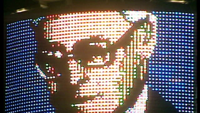 exterior night shots results of the conservative leadership race displayed in lights in piccadilly. michael heseltine concedes defeat to john major.... - 1990 stock videos & royalty-free footage