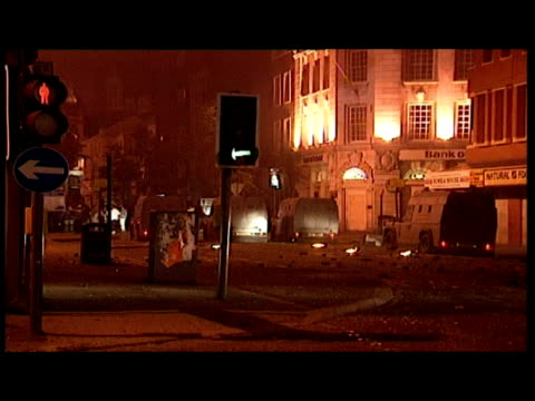 exterior night shots violent protests catholic rioters clash with ruc riot police including flames petrol bombs exterior shots pick up truck in... - anno 1993 video stock e b–roll