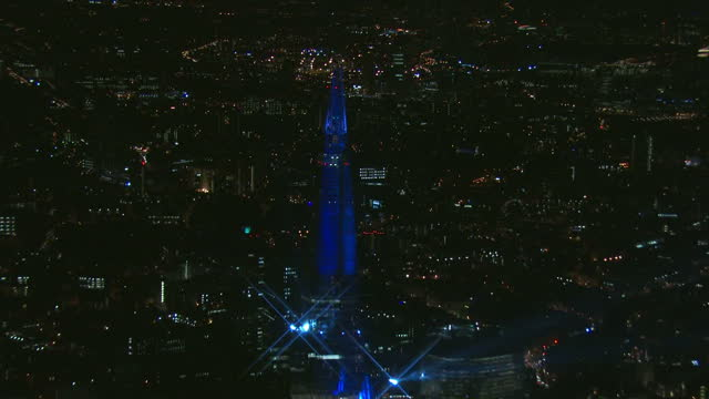 exterior night time shots of the laser light show at the launch of the shard western europe's tallest building light display at the shard on july 06... - western europe stock videos & royalty-free footage