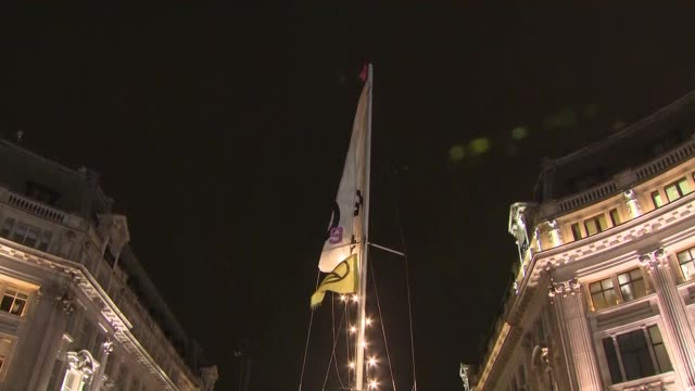 stockvideo's en b-roll-footage met exterior night views of climate change protesters on oxford circus and the camp they have set up including tents and the pink tell us the truth boat... - tent