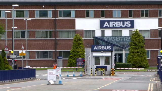 """exterior of airbus factory in broughton after it announced job losses due to the coronavirus pandemic - """"bbc news"""" stock videos & royalty-free footage"""